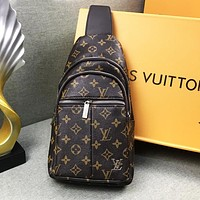 Louis Vuitton Trending Women Men Leather Backpack Satchel Crossbody Coffee
