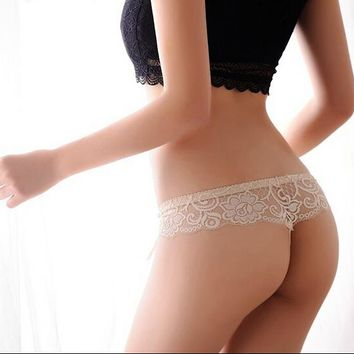Hot Sale Sexy Lace Panties Seamless G string Underwear Women T Panty Transparent Briefs Lingerie Low Waist Intimates for Ladies
