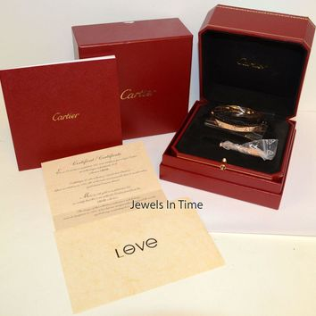Cartier Diamond Love Bracelet 18k Rose Gold Size 18 Box/Papers B6036018 NEW