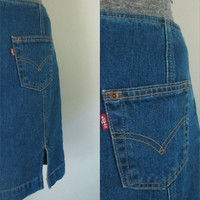 Vintage Levis Denim Pencil Skirt Back Slits Casual Mini