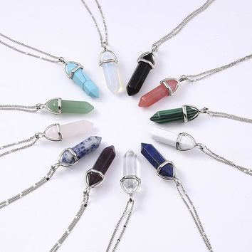 Silver Crystal Pendant Necklace