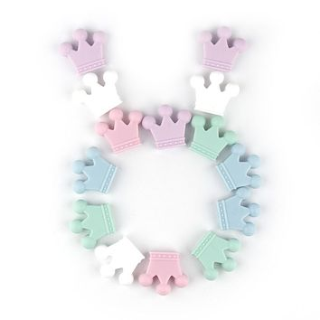 TYRY.HU 1x Silicone Beads Teether Baby Teething Pendant Baby Ring Teether BPA Free Silicone Chew Charms Teething Toys