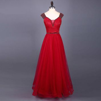 Long red prom dress cap sleeve lace up back prom dresses long red tulle long dress