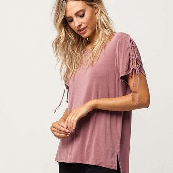 MIMI CHICA Lace Up Sleeve Womens Tee