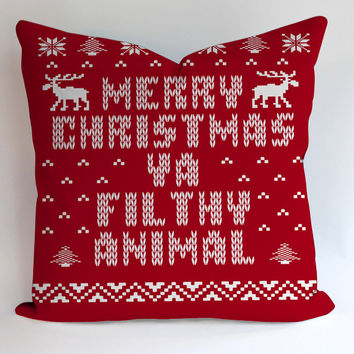 Ugly Merry Christmas Ya  Pillowcases Pillow Cases Covers Square Design Home Decoration