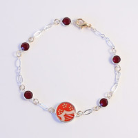 Ruby Junior - Red clouds with little white flowers washi Asian bracelet - with siam swarovski crystal charms