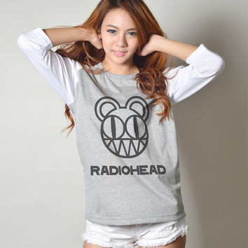 Radiohead T-Shirt Band Logo Kid A Album Raglan 3/4 Sleeve Baseball Tee Women T Shirts
