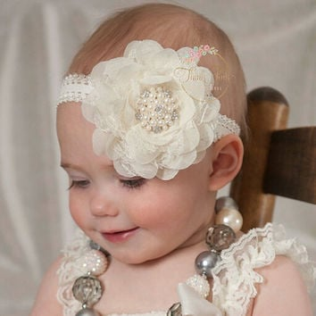 Cute Baby Girls Pearl Hair Band Baby Lace Head Wrap Band Headband for Baby 2M-5T