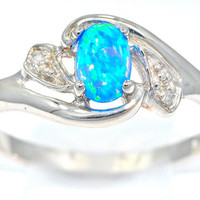 0.50 Carat Blue Opal Oval Diamond Ring .925 Sterling Silver Rhodium Finish