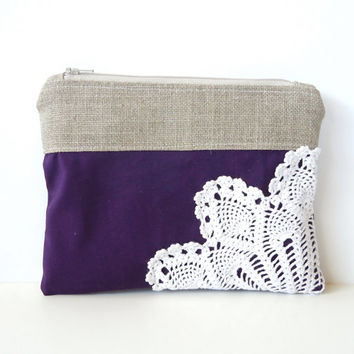 Eggplant Purple Linen Burlap Vintage Doily Zipper Clutch - Purple Wedding Gift - Bridesmaids Clutch