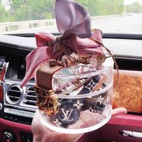 LV Fashion Lady Handbag Bag Transparent bag Crystal bag Bucket bag Jelly bag Makeup Bag Storage package Metal Buckle B-AGG-CZDL