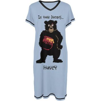 ONETOW Bear in Your Dreams Honey Women's V-Neck Nightshirt