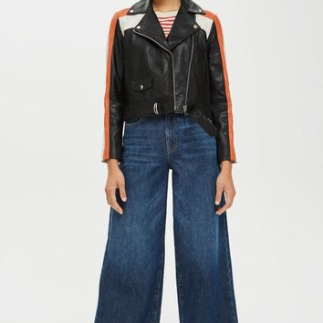 Topshop Ezra Motorcross Leather Biker Jacket | Nordstrom