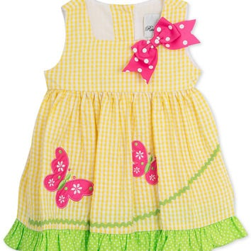 Rare Editions Girls' Seersucker Butterfly Dress Size:5T & 6X