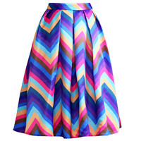 Neon Chevron Print Pleated A-Line Mini Skirt