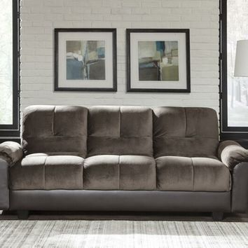 Chocolate brown textured velvet upholstered folding sofa bed with tufted back