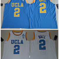 2017 UCLA Bruins Lonzo Ball 2 College Basketball Authentic Jersey - White Size S,M,L,XL,2XL,3XL