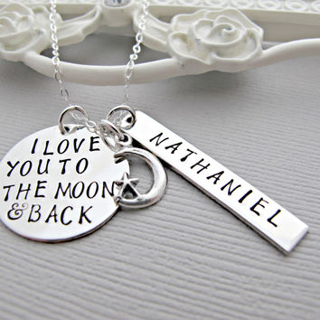 Personalized New Mom Necklace, Baby Name Necklace, I love you to the moon and back, Birthdate, Hand Stamped Jewelry, Childs Name