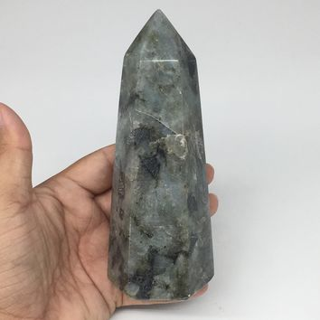"560g,5.7""x2.4""x2"" Natural Labradorite Tower Point Crystal @Madagascar,TP167"