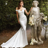 Lace Off-shoulder Satin Mermaid Wedding Dresses Court Train Bridal Gowns