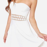 White Strapless Ruffled Lace Dress