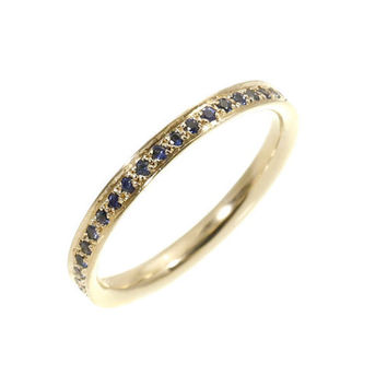 Dainty Sapphire Eternity Ring -  Blue Sapphire Eternity Stacking Ring - 0.42 Carat Round sapphires - 14k Solid Gold.