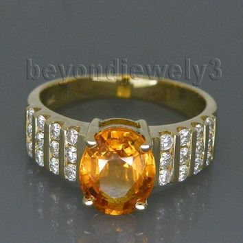 Vintage Solid 14Kt Yellow Gold Natural Yellow Sapphire Diamond Engagement Rings For Sale,Natural Yellow Sapphire Rings G090423