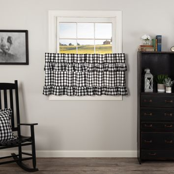 Annie Black Buffalo Check Ruffled Tier Curtains 24""