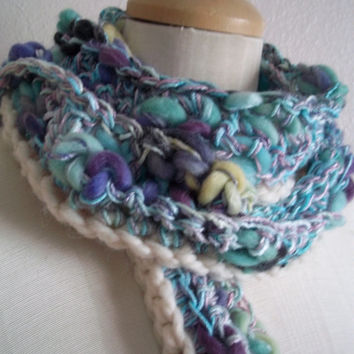 elegant hand painted wool bamboo crocheted thick and thin art yarn mermaid scarflette scarf ~ morning mist ~