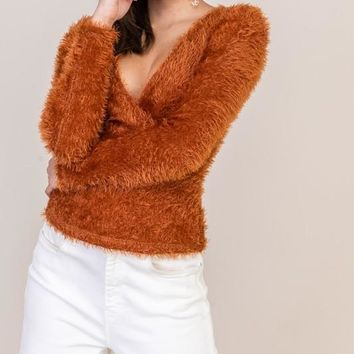 Fuzzy Wrapped Sweater - Rust   ONLY 2 S LEFT