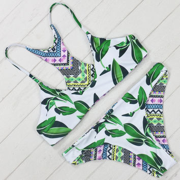 Printing Bikini Set Green Tree Leaf Women Bathing Suit