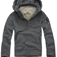 Hollister Mens Avalon Place Pullover Hoodie, Grey (Large)
