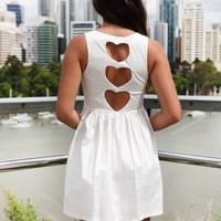 White Sleeveless Mini Dress with Three Heart Cutout Back