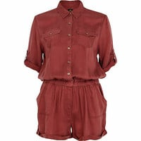 Dark red casual shirt playsuit - playsuits - playsuits / jumpsuits - women