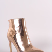 Mirror Metallic Pointy Toe Stiletto Ankle Boots