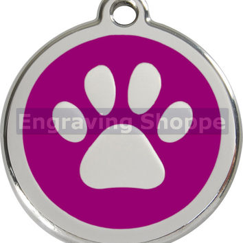 Purple Paw Print Enamel and Stainless Steel Personalized Custom Pet Tag with LIFETIME GUARANTEE ID Tag Dog Tags and Cat Tags Free Engraving