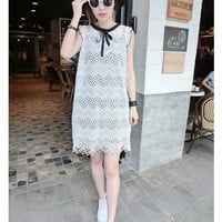 Lace Temperament Thin Short-Sleeved Two-Piece Dress