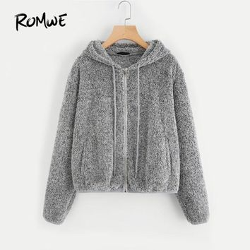 ROMWE Zip Up Fuzzy Hoodie Jacket 2018 Plain Hoodie Dropped Shoulder Seam Drawstring Women Clothing Grey Zipper Casual Jacket