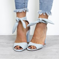 Sweet Farewell Lt. Blue Denim Tie Up Heels