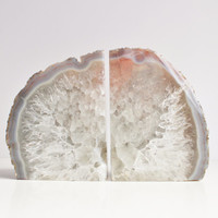 Agate Bookends, Crystal, Pair