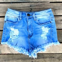 Our All Yours Denim Shorts have got us crushin'! They're a light wash denim short that are slightly high waisted with distressing. Very comfortable and stylish!