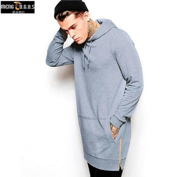 New Arrival Black Solid Fleece Hip Hop Oversize Men Hoody Longline Fashion Hoodies Sweatshirts Men Free Shipping