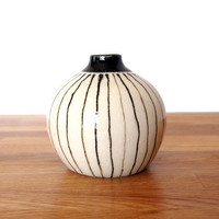 Ceramic Wheel thrown Black Lined Pod Vase