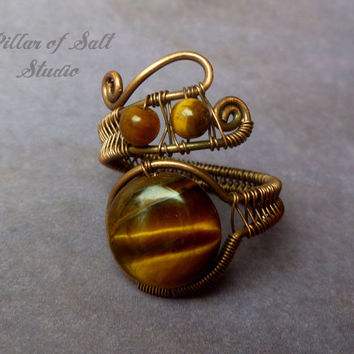 Tiger Eye Wire wrapped ring, boho jewelry, earthy jewelry, wire wrapped jewelry handmade, copper jewelry, wire jewelry, woven wire ring