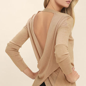 Reign Over Light Brown Backless Sweater Top