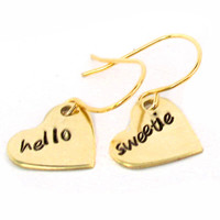 *Sale* Hello Sweetie Earrings - Hand Stamped Brass - Doctor Who Inspired
