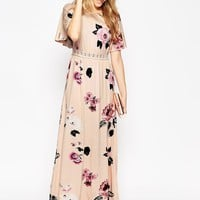 ASOS Angel Sleeve Maxi Dress With Lace Inserts In Floral Print at asos.com