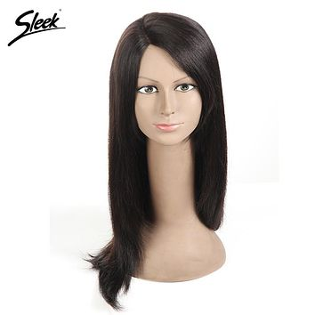 Sleek Brazilian Straight L Part Lace Front Human Hair Wigs For Black Women Remy Hair Lace Wig 16 Inch Free Shipping 6 Color HAWA