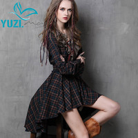 Vestidos Femininos 2017 Yuzi.may Autumn New Vintage Cotton Dress Plaid Patchwork V-Neck Ruffles Asymmetrical Women Dresses A6537