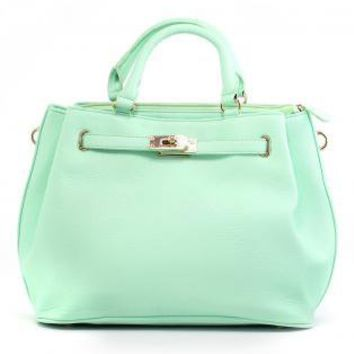 Mint Green Bag with Fold Over Front and Gold Hardware